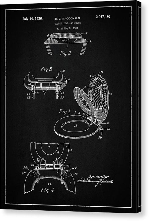 Vintage Toilet Seat Patent, 1936 - Canvas Print from Wallasso - The Wall Art Superstore
