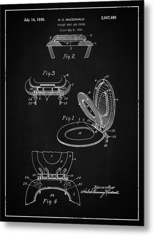 Vintage Toilet Seat Patent, 1936 - Metal Print from Wallasso - The Wall Art Superstore