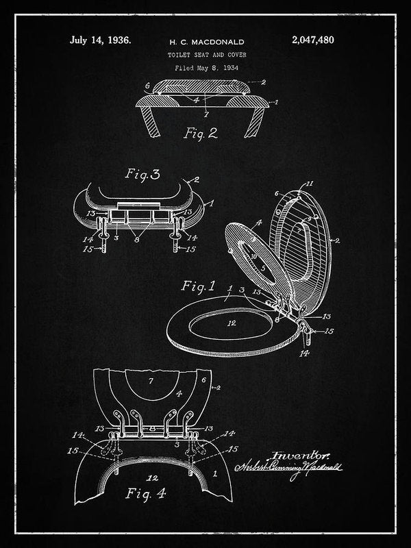 Vintage Toilet Seat Patent, 1936 - Art Print from Wallasso - The Wall Art Superstore