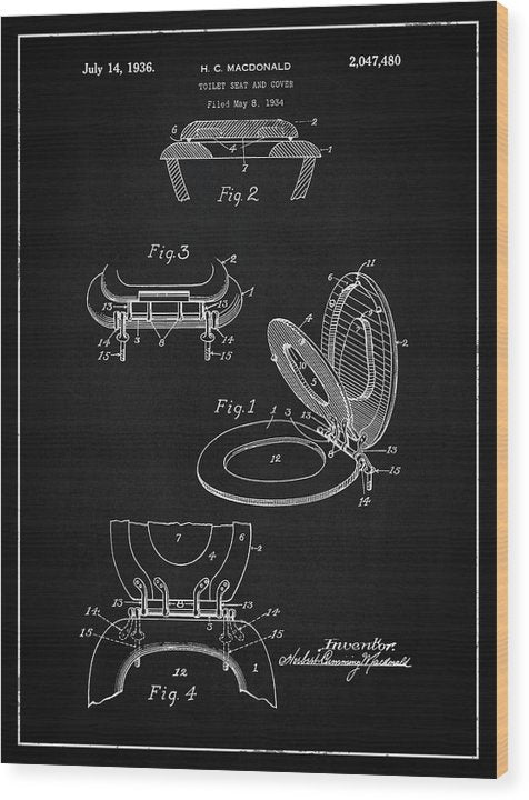 Vintage Toilet Seat Patent, 1936 - Wood Print from Wallasso - The Wall Art Superstore