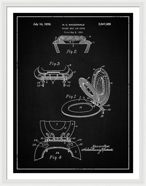 Vintage Toilet Seat Patent, 1936 - Framed Print from Wallasso - The Wall Art Superstore