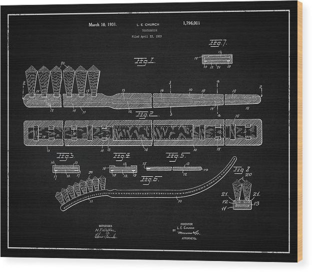 Vintage Toothbrush Patent, 1931 - Wood Print from Wallasso - The Wall Art Superstore