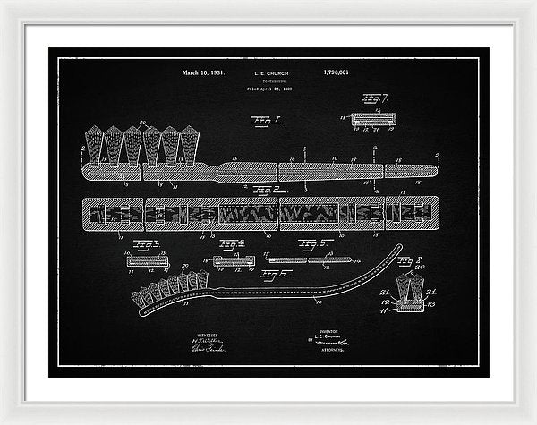 Vintage Toothbrush Patent, 1931 - Framed Print from Wallasso - The Wall Art Superstore