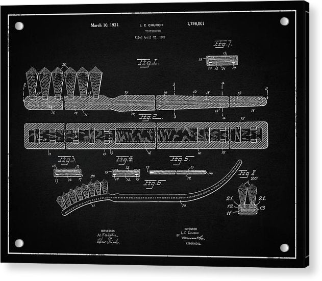 Vintage Toothbrush Patent, 1931 - Acrylic Print from Wallasso - The Wall Art Superstore