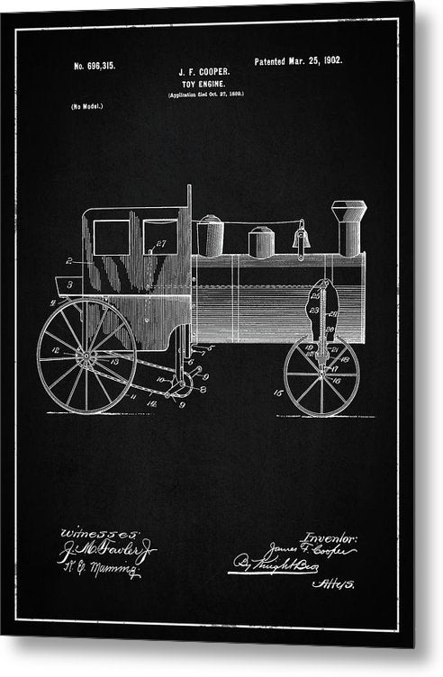 Vintage Toy Train Engine Patent, 1902 - Metal Print from Wallasso - The Wall Art Superstore