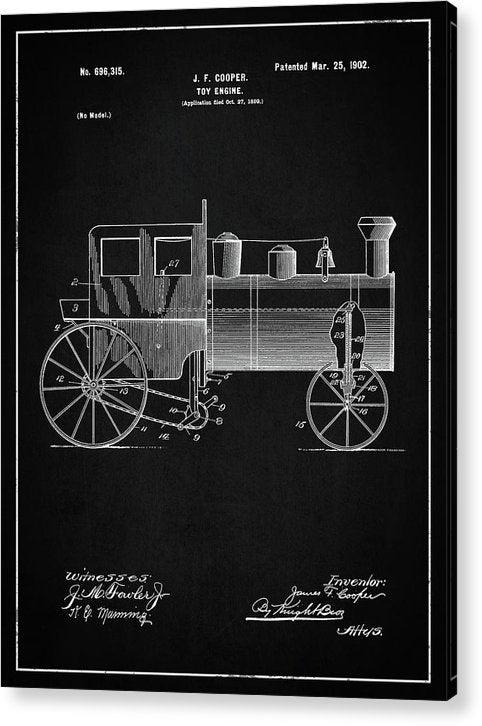 Vintage Toy Train Engine Patent, 1902 - Acrylic Print from Wallasso - The Wall Art Superstore
