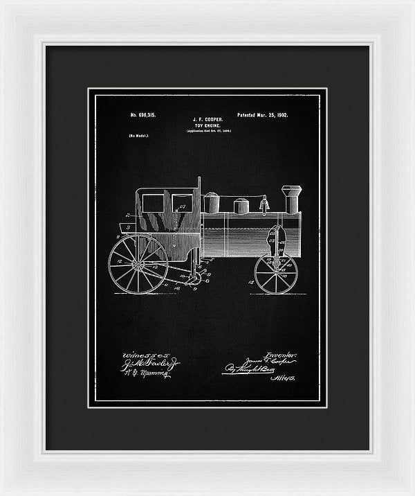 Vintage Toy Train Engine Patent, 1902 - Framed Print from Wallasso - The Wall Art Superstore
