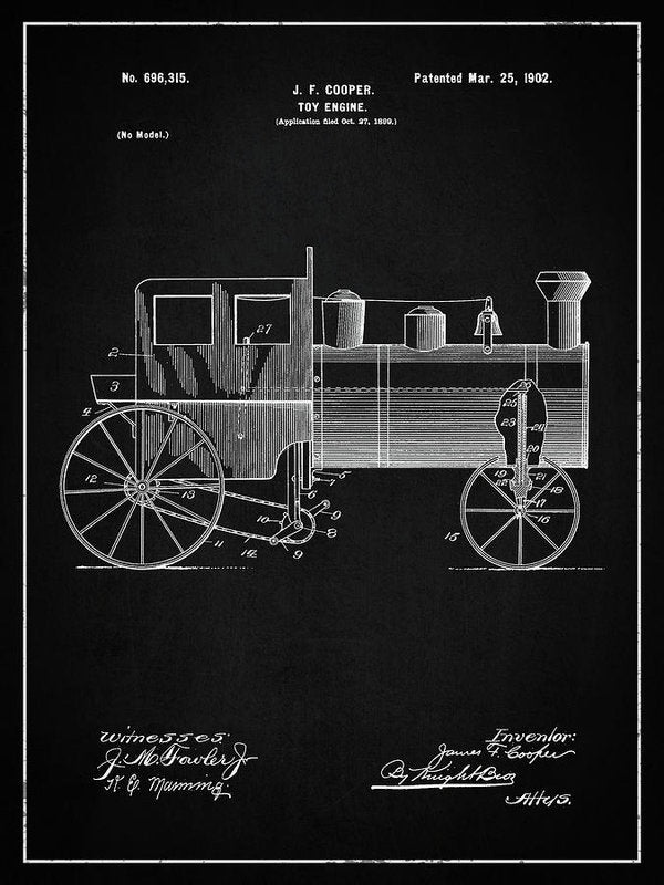 Vintage Toy Train Engine Patent, 1902 - Art Print from Wallasso - The Wall Art Superstore