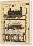 Vintage Train Illustration - Canvas Print from Wallasso - The Wall Art Superstore