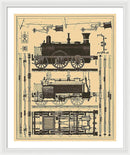 Vintage Train Illustration - Framed Print from Wallasso - The Wall Art Superstore