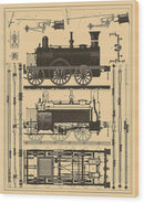 Vintage Train Illustration - Wood Print from Wallasso - The Wall Art Superstore