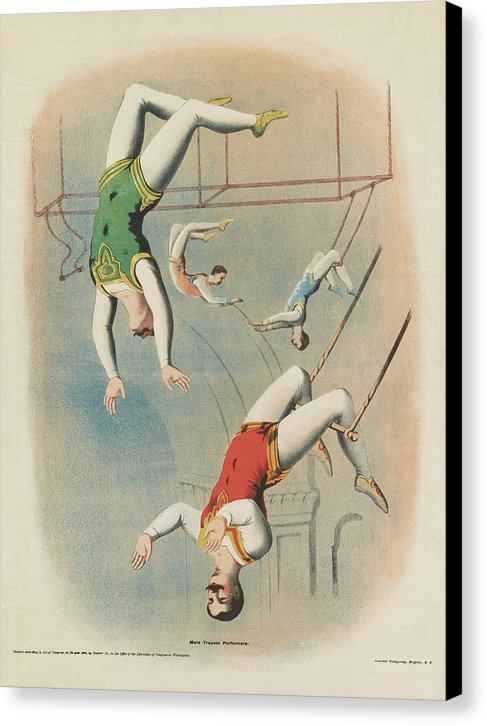 Vintage Trapeze Artists Illustration - Canvas Print from Wallasso - The Wall Art Superstore
