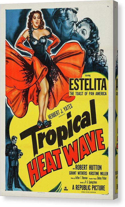 Vintage Tropical Heat Wave Movie Poster, 1952 - Canvas Print from Wallasso - The Wall Art Superstore