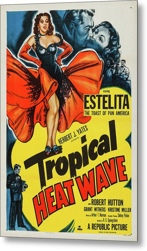 Vintage Tropical Heat Wave Movie Poster, 1952 - Metal Print from Wallasso - The Wall Art Superstore