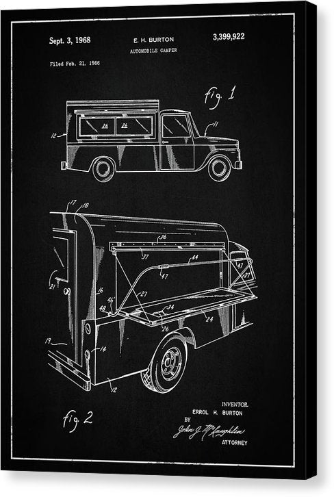 Vintage Truck Camper Patent, 1968 - Canvas Print from Wallasso - The Wall Art Superstore