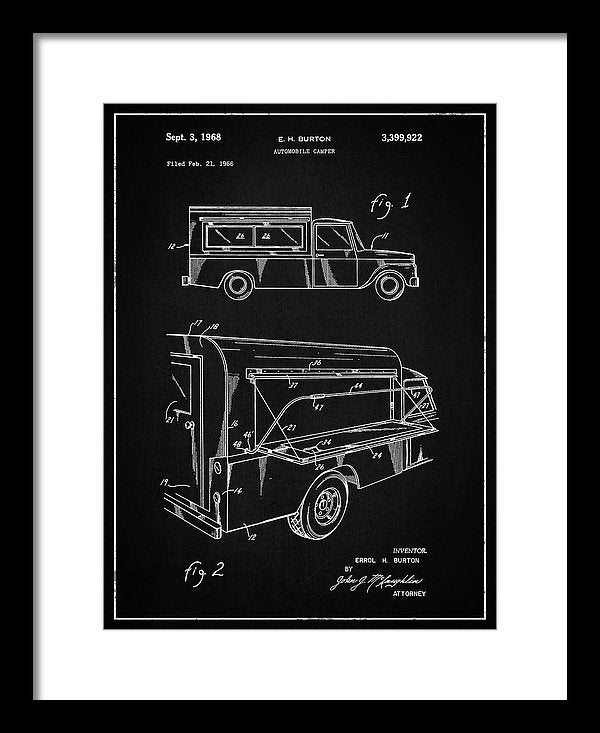 Vintage Truck Camper Patent, 1968 - Framed Print from Wallasso - The Wall Art Superstore