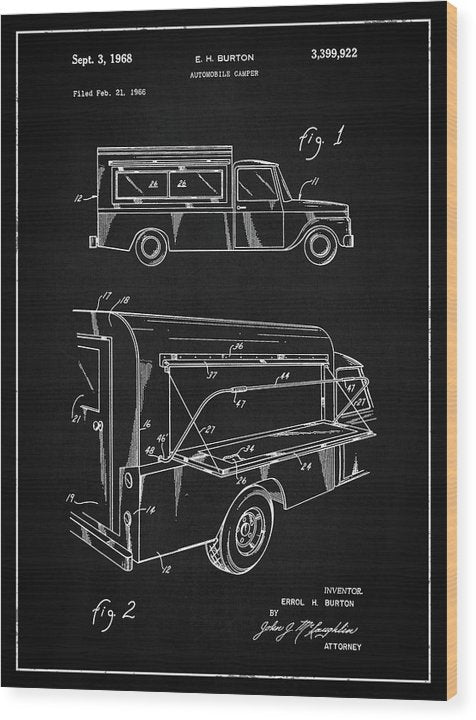Vintage Truck Camper Patent, 1968 - Wood Print from Wallasso - The Wall Art Superstore