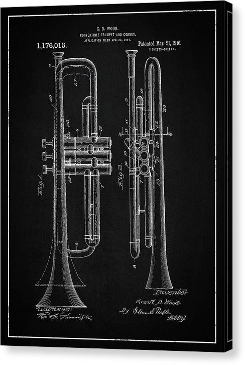 Vintage Trumpet Patent, 1916 - Canvas Print from Wallasso - The Wall Art Superstore