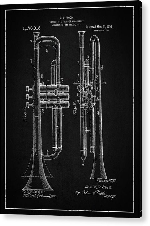 Vintage Trumpet Patent, 1916 - Acrylic Print from Wallasso - The Wall Art Superstore