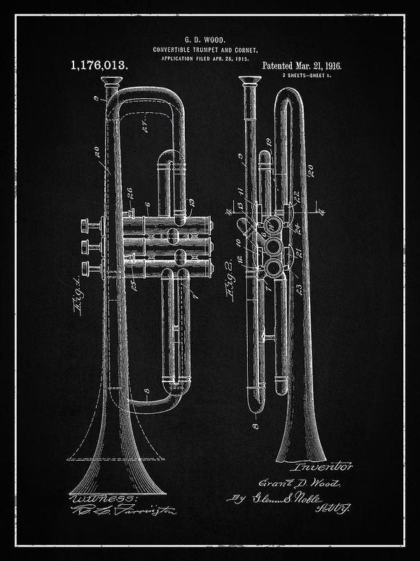 Vintage Trumpet Patent, 1916 - Art Print from Wallasso - The Wall Art Superstore