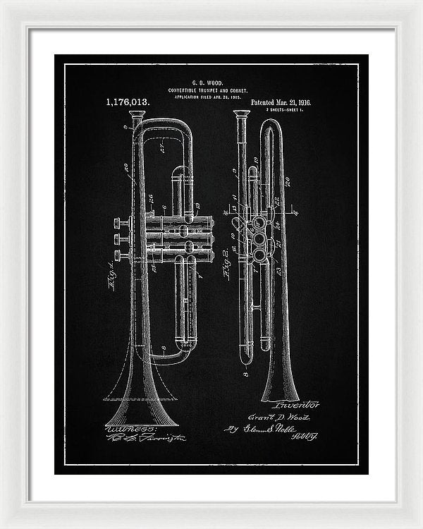 Vintage Trumpet Patent, 1916 - Framed Print from Wallasso - The Wall Art Superstore