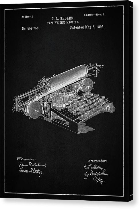 Vintage Typewriter Patent, 1896 - Canvas Print from Wallasso - The Wall Art Superstore