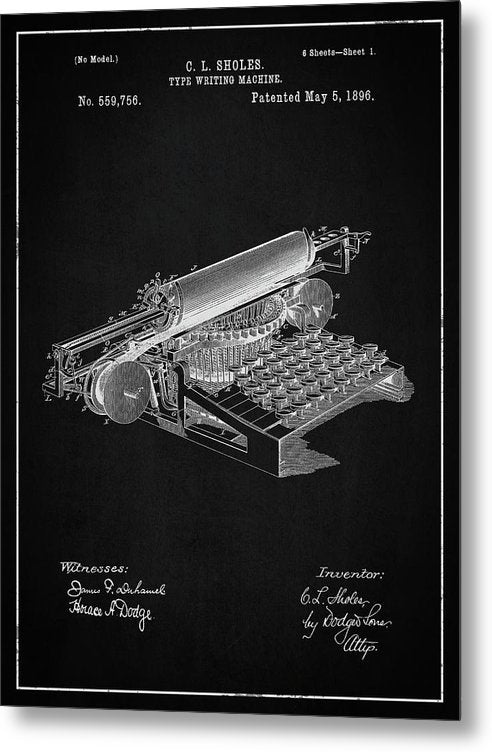 Vintage Typewriter Patent, 1896 - Metal Print from Wallasso - The Wall Art Superstore