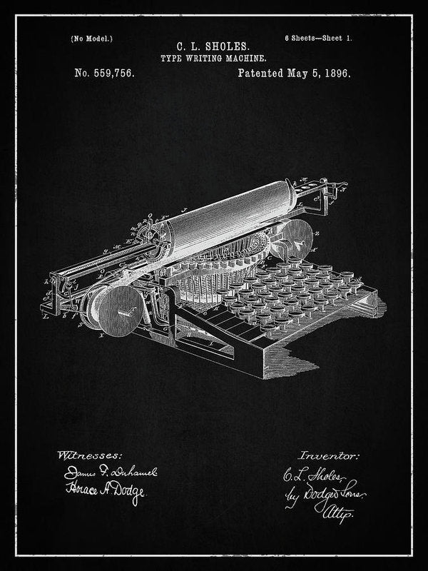 Vintage Typewriter Patent, 1896 - Art Print from Wallasso - The Wall Art Superstore