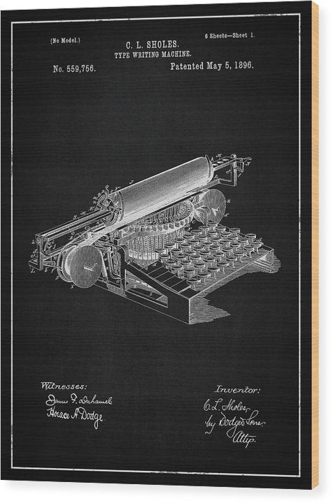 Vintage Typewriter Patent, 1896 - Wood Print from Wallasso - The Wall Art Superstore