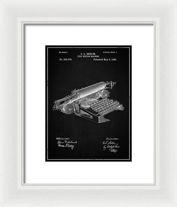 Vintage Typewriter Patent, 1896 - Framed Print from Wallasso - The Wall Art Superstore