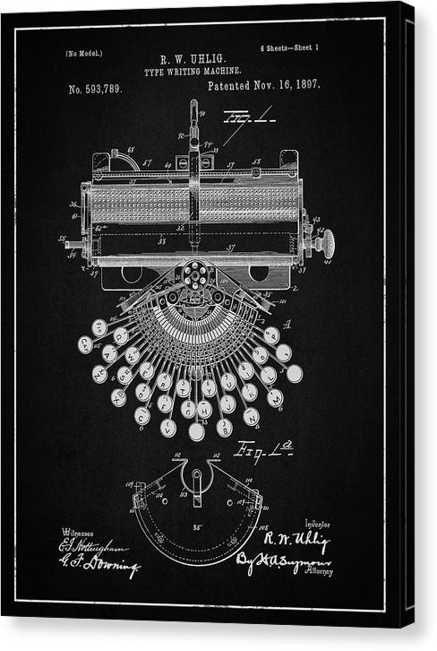 Vintage Typewriter Patent, 1897 - Canvas Print from Wallasso - The Wall Art Superstore