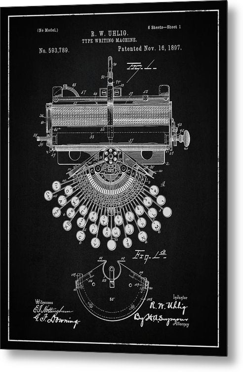 Vintage Typewriter Patent, 1897 - Metal Print from Wallasso - The Wall Art Superstore