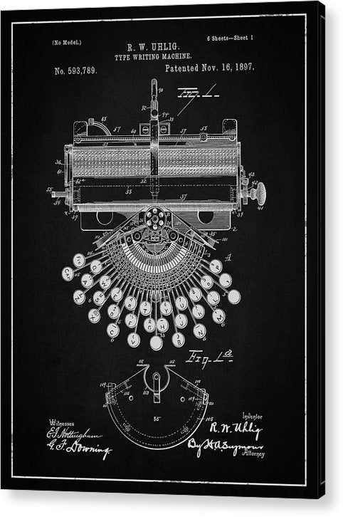 Vintage Typewriter Patent, 1897 - Acrylic Print from Wallasso - The Wall Art Superstore