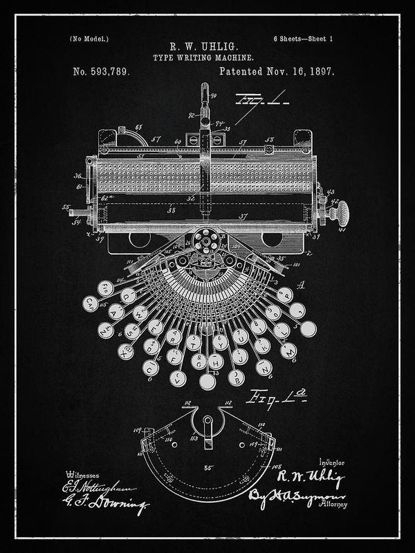 Vintage Typewriter Patent, 1897 - Art Print from Wallasso - The Wall Art Superstore