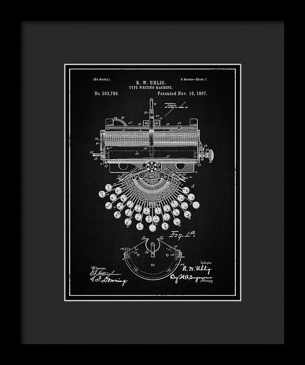 Vintage Typewriter Patent, 1897 - Framed Print from Wallasso - The Wall Art Superstore