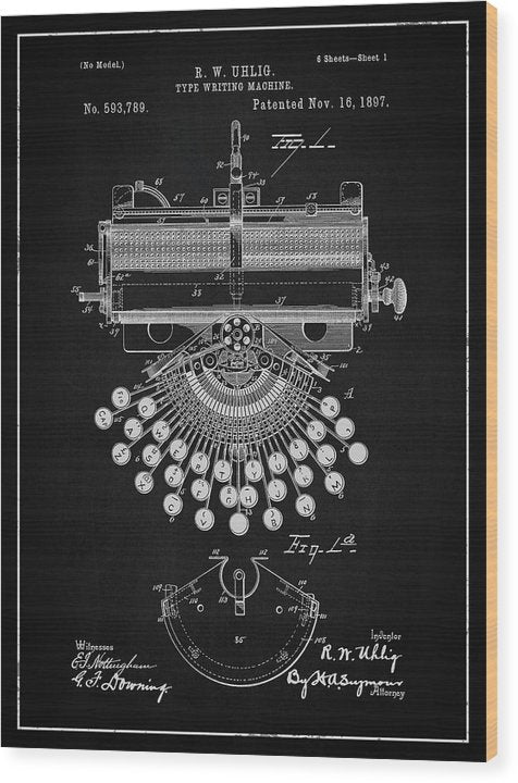 Vintage Typewriter Patent, 1897 - Wood Print from Wallasso - The Wall Art Superstore