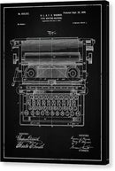 Vintage Typewriter Patent, 1899 - Canvas Print from Wallasso - The Wall Art Superstore