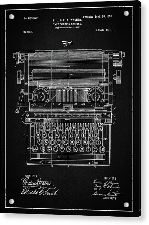 Vintage Typewriter Patent, 1899 - Acrylic Print from Wallasso - The Wall Art Superstore
