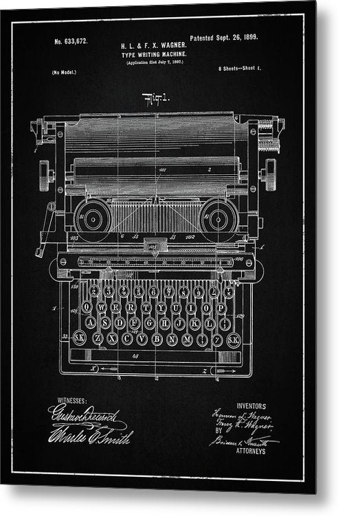 Vintage Typewriter Patent, 1899 - Metal Print from Wallasso - The Wall Art Superstore