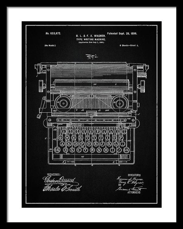 Vintage Typewriter Patent, 1899 - Framed Print from Wallasso - The Wall Art Superstore
