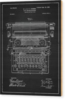 Vintage Typewriter Patent, 1899 - Wood Print from Wallasso - The Wall Art Superstore
