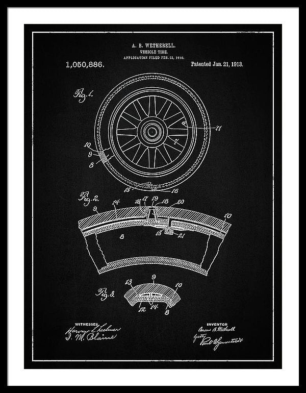 Vintage Vehicle Tire Patent, 1913 - Framed Print from Wallasso - The Wall Art Superstore