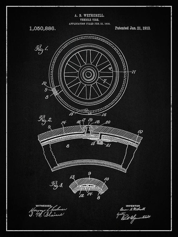 Vintage Vehicle Tire Patent, 1913 - Art Print from Wallasso - The Wall Art Superstore