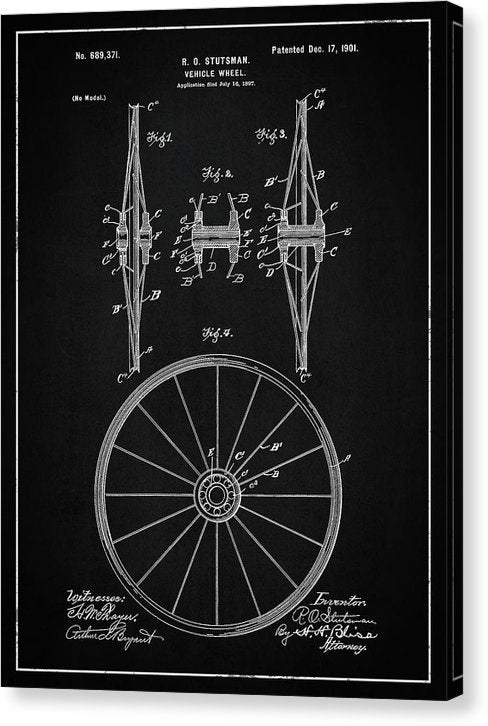 Vintage Vehicle Wheel Patent, 1901 - Canvas Print from Wallasso - The Wall Art Superstore