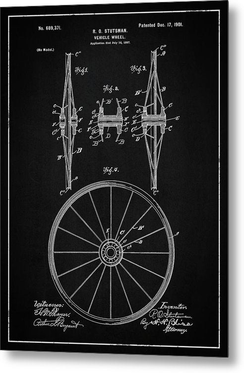 Vintage Vehicle Wheel Patent, 1901 - Metal Print from Wallasso - The Wall Art Superstore
