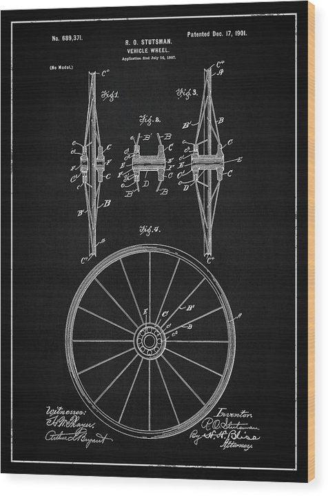 Vintage Vehicle Wheel Patent, 1901 - Wood Print from Wallasso - The Wall Art Superstore