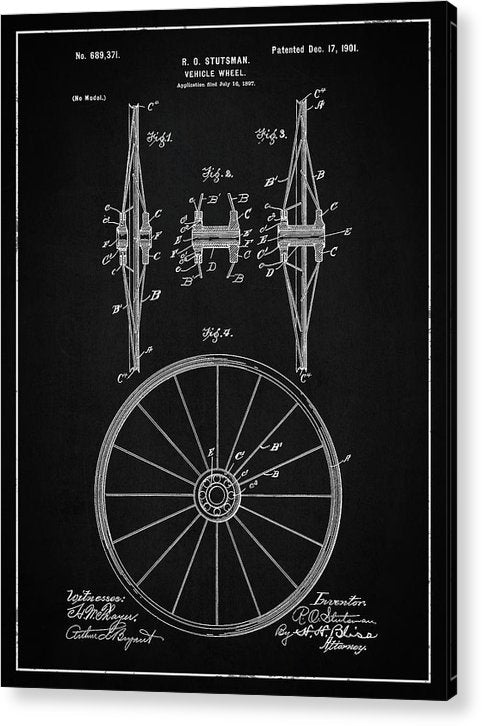 Vintage Vehicle Wheel Patent, 1901 - Acrylic Print from Wallasso - The Wall Art Superstore