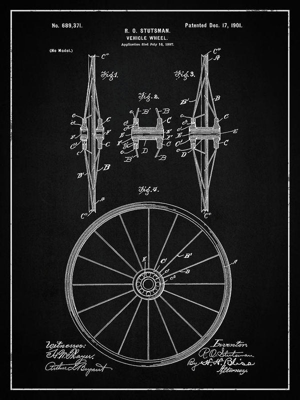 Vintage Vehicle Wheel Patent, 1901 - Art Print from Wallasso - The Wall Art Superstore