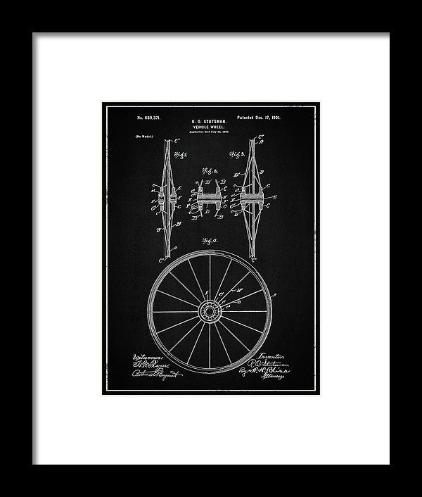 Vintage Vehicle Wheel Patent, 1901 - Framed Print from Wallasso - The Wall Art Superstore