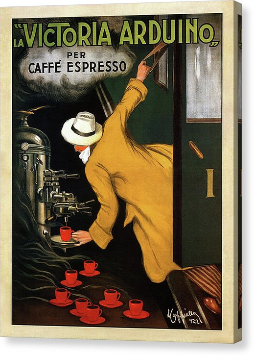 Vintage Victoria Arduino Espresso Machine Poster, 1922 - Canvas Print from Wallasso - The Wall Art Superstore